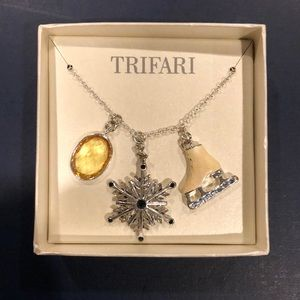 "TrIfari ICE SKATER Necklace Silver Chain 1"" Charms"